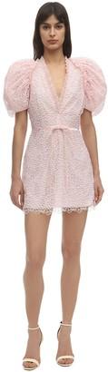 Giamba Macrame Puffed Mini Dress
