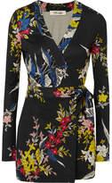 Diane von Furstenberg Celeste Printed Silk-jersey Wrap Playsuit - Black