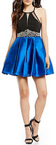 Teeze Me High Neckline Embellished Waist Illusion-Inset Color Block Swing Party Dress
