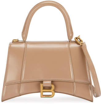 Balenciaga Hour Small Shiny Leather Top-Handle Bag