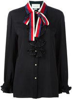Gucci tied neck ruffled shirt - women - Silk/Polyester - 46