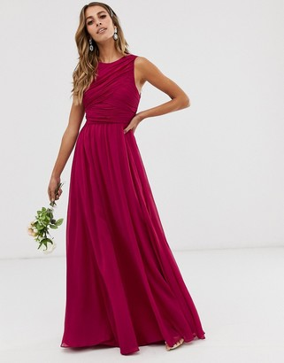 Asos Design DESIGN Bridesmaid maxi dress with soft pleated bodice-Red