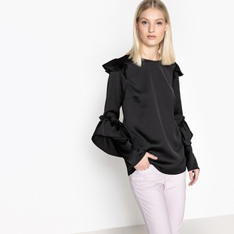 Satin Look Blouse with Long Ruffled Sleeves