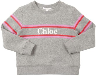 Chloé Logo Print Cotton Blend Sweatshirt