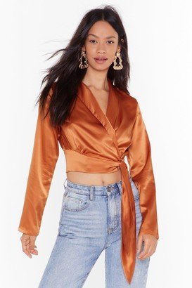 Nasty Gal Womens Seven Days a Sleek Satin Cropped Blouse - orange - S