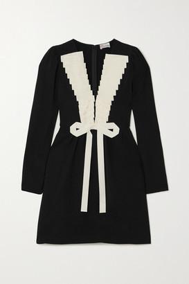 RED Valentino Grosgrain-trimmed Crepe Mini Dress - Black