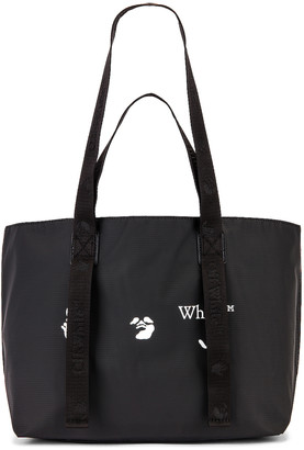 Off-White OW Logo PVC Small Tote Bag in Black & White | FWRD