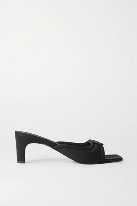 BEVZA Embellished Neoprene Mules - Black
