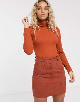Monki jersey roll neck top in orange