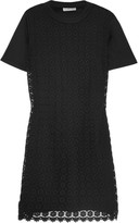 See by Chloe Cotton-jersey and crocheted cotton mini dress