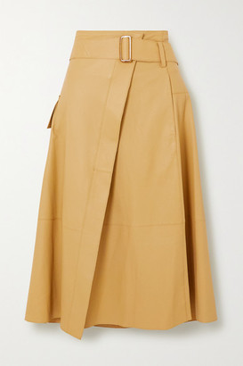 Vince Belted Leather Wrap Skirt - Sand