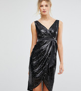 TFNC Tall Wrap Front Sequin Midi Dress With Satin Waist Band