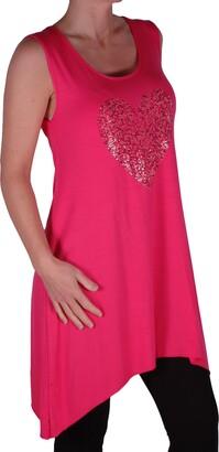 Eyecatch Plus - Ladies Heart Studded Longline Womens Vest Top Purple Size 18