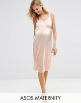 Asos Cami Dress In Metallic With Pleats