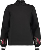 Mother of Pearl Cassie embroidered cotton and modal-blend neoprene sweatshirt