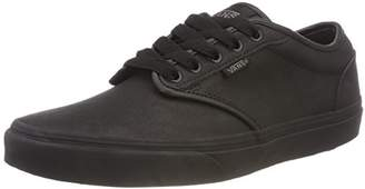 Vans Men's Atwood Synthetic Leather Low-Top Sneakers, (Triple) Black Knx