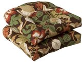 Pillow Perfect Indoor/Outdoor Brown/Green Tropical Wicker Seat Cushions, 2-Pack