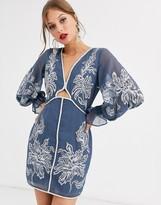 Asos Design DESIGN embroidered rope trim mini dress