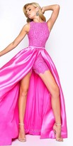 Mac Duggal Lace Romper with Satin Overskirt Prom Dress