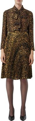 Burberry Amelie Leopard Print Tie Neck Silk Blouse