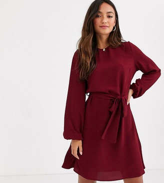 New Look volume sleeve belted mini dress in burgundy