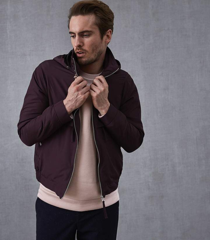 Reiss BENNETTE HOODED SHORT JACKET Bordeaux
