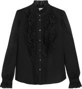 Temperley London Etta ruffled embroidered cotton-blend shirt