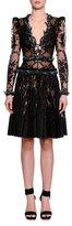 Alexander McQueen Long-Sleeve Embellished-Butterfly Lace Dress, Black