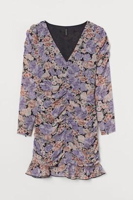 H&M Draped Chiffon Dress - Pink