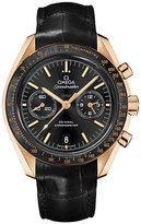 Omega Speedmaster Moonwatch men's black leather strap watch