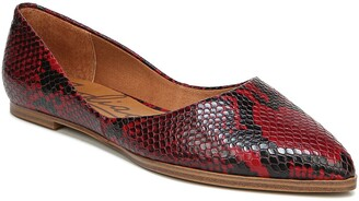 Zodiac Hill Snake Embossed Pointed Toe Flat