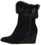 Taryn Rose Kissy Fur-Trim Wedge Bootie, Black