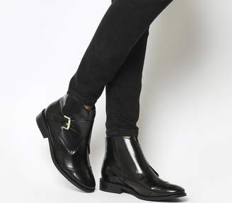 Office Anthem Monk Ankle Boots Black Box Leather