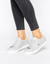 Lacoste Straightset 117 Sneakers In Gray With Gold Croc