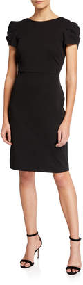 Betsey Johnson Puff-Shoulder Dress with Exposed Zip