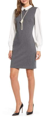 Karl Lagerfeld Paris Long Sleeve Pinstripe Shirtdress