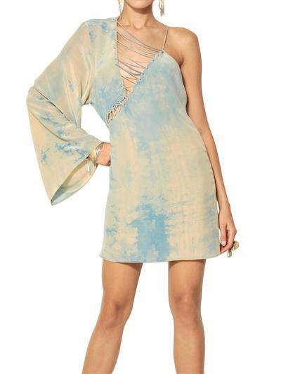 Versace Tie Dyed Silk Crepe De Chine Dress