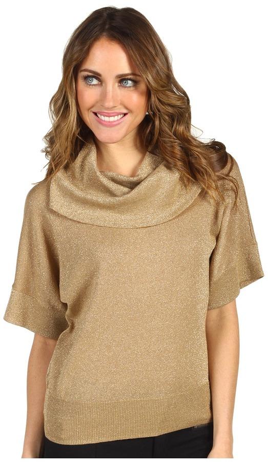 MICHAEL Michael Kors Petite Cowl Neck Dolman Sleeve Sweater (Dark Camel) - Apparel