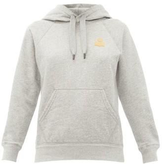 Etoile Isabel Marant Flocked-logo Cotton-blend Hooded Sweatshirt - Grey