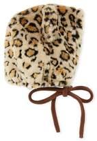 Grevi Kids' Faux-Fur Leopard Bonnet Hat
