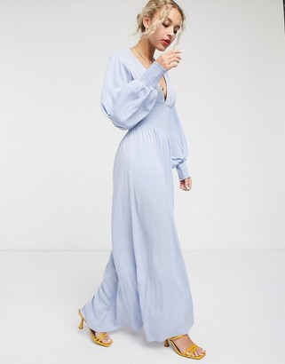 And other stories & balloon sleeve midaxi dress in light blue