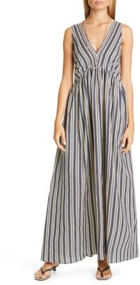 Brunello Cucinelli Stripe Cotton & Silk A-Line Maxi Dress