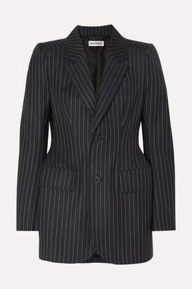 Balenciaga Hourglass Pinstriped Wool And Cashmere-blend Blazer - Navy