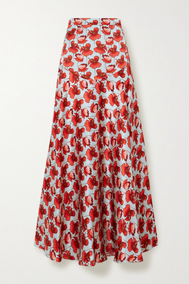 Raquel Diniz Giulia Floral-print Silk-satin Maxi Skirt - Red
