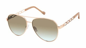 Jessica Simpson Women's J5856 Metal Chain Temple Aviator UV Protective Sunglasses | Wear Year-Round | Give as a Gift to Her