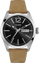 Guess W0658g7 Vertigo Stainless Steel And Leather Watch