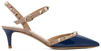 Valentino Navy Garavani Rockstud Slingback Heels