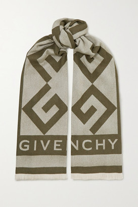 Givenchy Fringed Intarsia Wool And Cashmere-blend Scarf - Army green