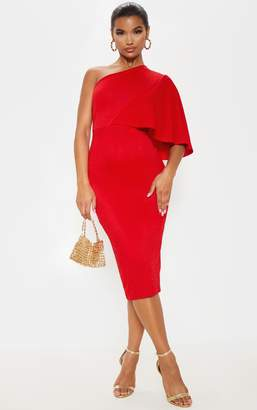 PrettyLittleThing Red One Shoulder Cape Midi Dress