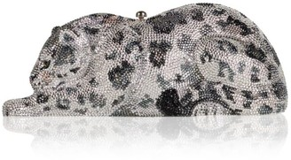 Judith Leiber Couture Snow Leopard Wildcat Crystal Clutch